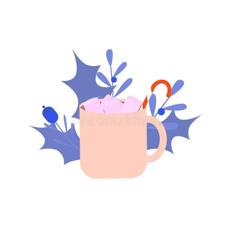 Una tazza del Natale beve, cacao, cioccolato con la caramella gommosa e molle su fondo bianco con la decorazione di natale L'inve illustrazione di stock