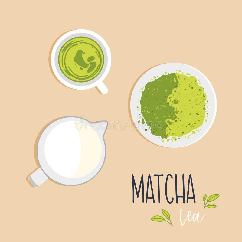 Una tazza del tè al latte verde di Matcha il lanciatore e del tè in polvere di Matcha su un piattino Vista superiore royalty illustrazione gratis
