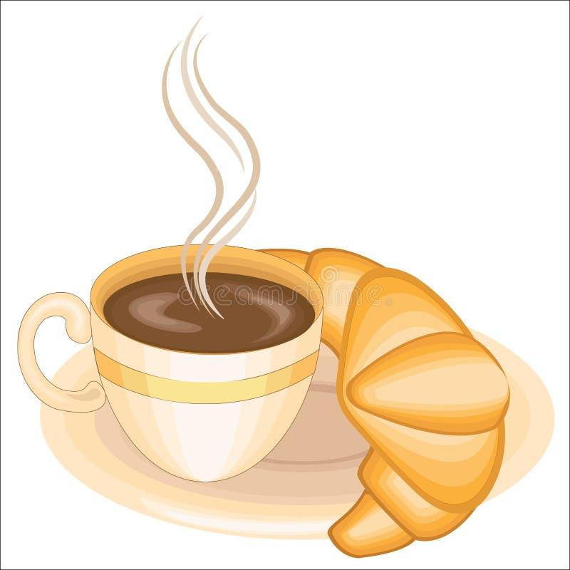 Una tazza di caff? nero delizioso e di un croissant fresco su un piatto con cioccolato Illustrazione di vettore illustrazione di stock