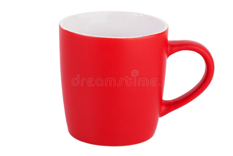Una tazza di ceramica rossa vuota immagine stock