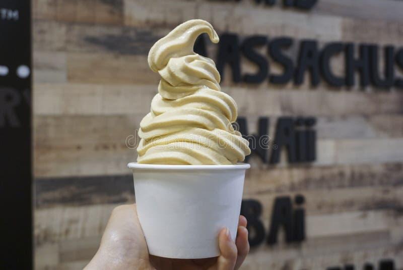 Una tazza di yogurt congelato caramello fotografia stock