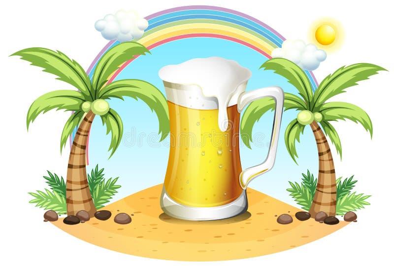 Una tazza gigante di birra vicino ai cocchi illustrazione di stock