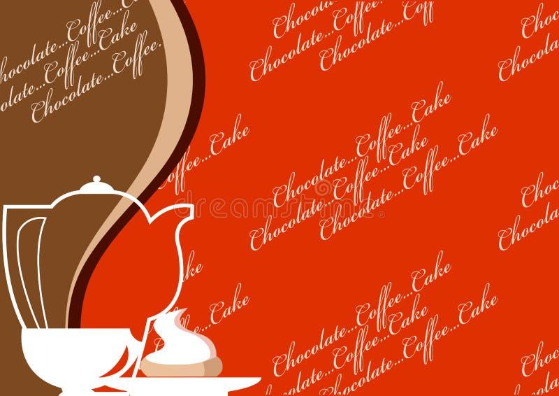Una tazza, un POT del caffè e un dessert royalty illustrazione gratis