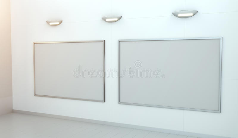 Una tela bianca di due spazii in bianco su una rappresentazione della parete 3D illustrazione di stock