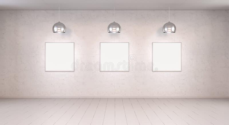 Una tela bianca di tre spazii in bianco su una rappresentazione della parete 3D illustrazione di stock