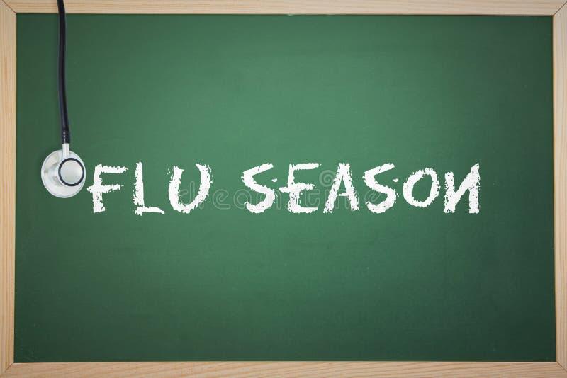 Una temporada de gripe contra la pizarra stock de ilustración
