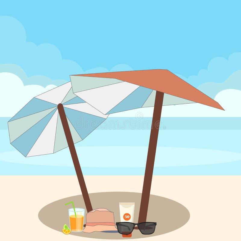 Una tenda su una spiaggia con calce e occhiali da sole fotografia stock