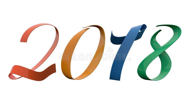Una tetrade di 2018 cifre del nuovo anno saturata colora 15 gradi di titolo metallico lucido del nastro illustrazione vettoriale