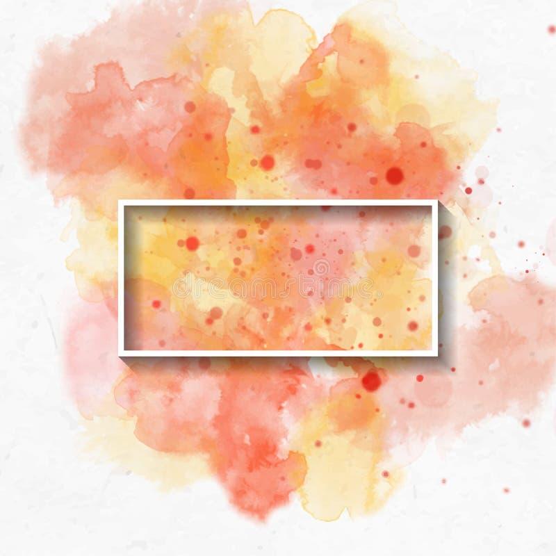 Una textura amarilla brillante artística del fondo de la acuarela del tema abstracto del otoño; pintura de oro en el Libro Blanco ilustración del vector