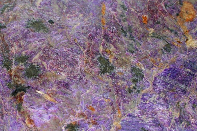 Una Textura Del Mineral Natural Del Charoite Imagenes de archivo