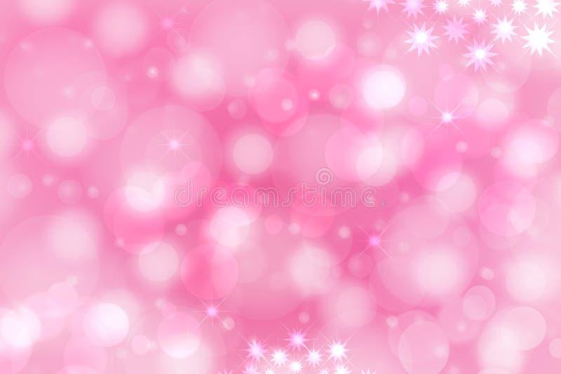 Una textura p?rpura del fondo de la pendiente del rosa festivo del extracto con las estrellas y los c?rculos del bokeh que brilla fotografía de archivo