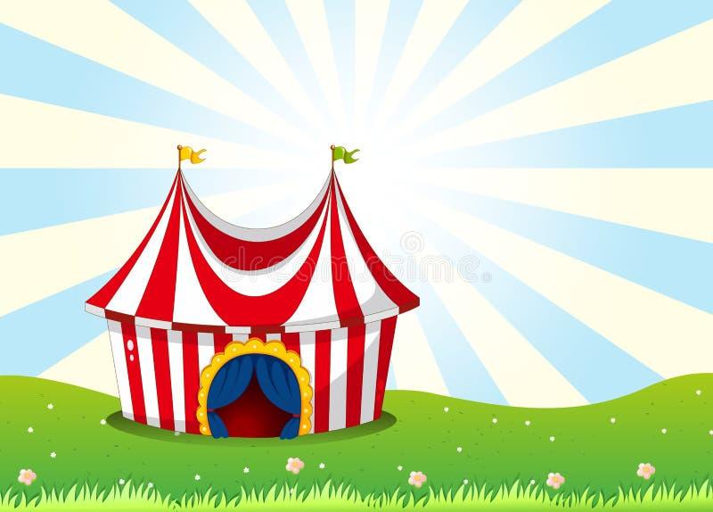 Una tienda de circo en la cima de la colina stock de ilustración
