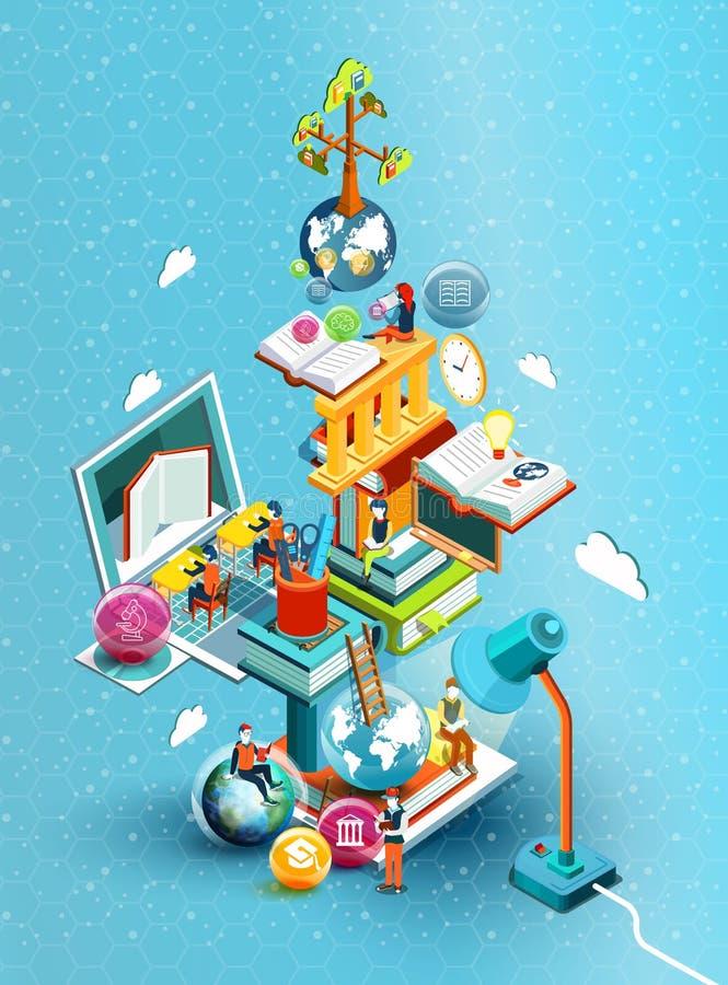 Una torre de libros con la gente de la lectura Concepto educativo Biblioteca en línea Diseño plano isométrico de la educación en  stock de ilustración