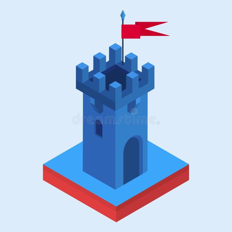 Una torre isométrica del castillo ilustración del vector