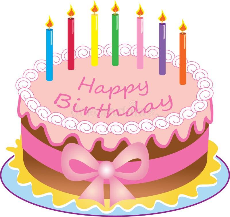 Una torta di compleanno felice illustrazione vettoriale