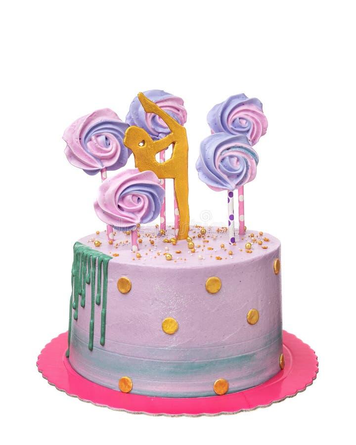 Una torta di compleanno per una ginnasta della ragazza fotografia stock libera da diritti