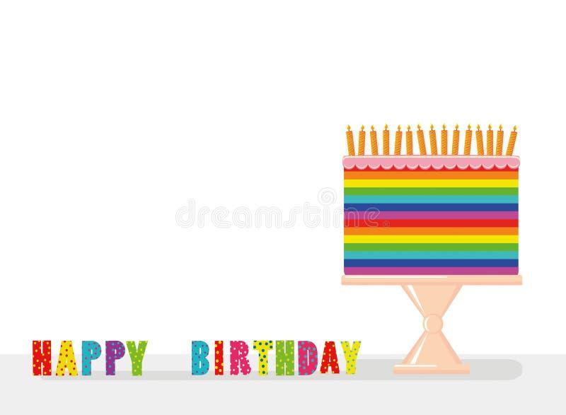 Una torta grande multicolora e iridiscente festiva con las velas libre illustration