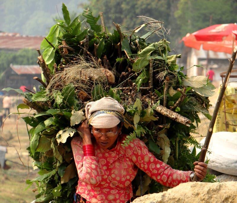 Una trabajadora del nepali en paños tradicionales imagen de archivo libre de regalías
