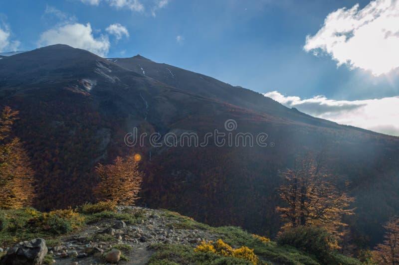 Una traccia di escursione più guarda il lago blu ghiacciato immagini stock libere da diritti