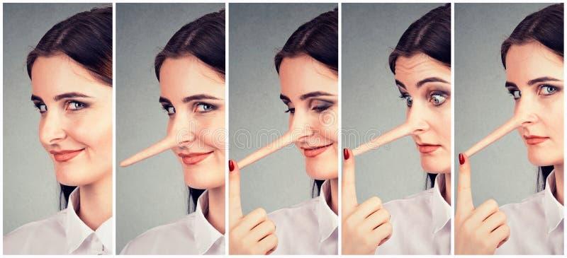 Una transformación del mentiroso Mujer con la nariz larga fotos de archivo