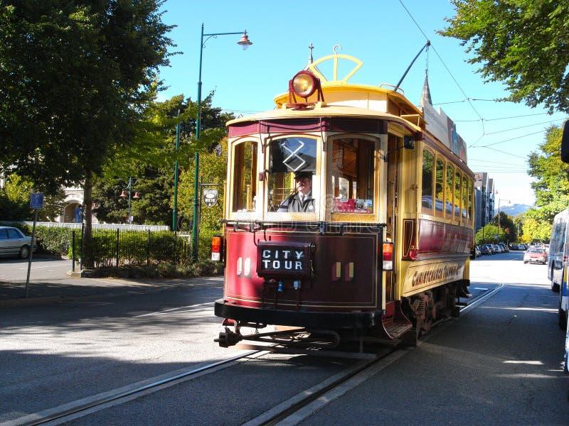 Una tranvía de visita turístico de excursión en Christchurch foto de archivo
