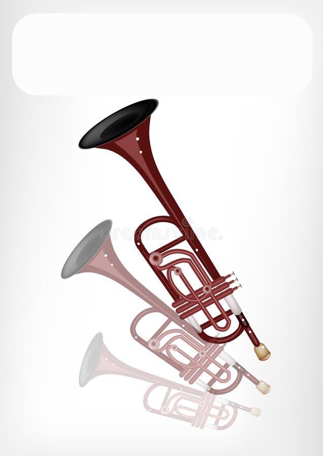 Una trompeta musical con una bandera blanca fotos de archivo libres de regalías