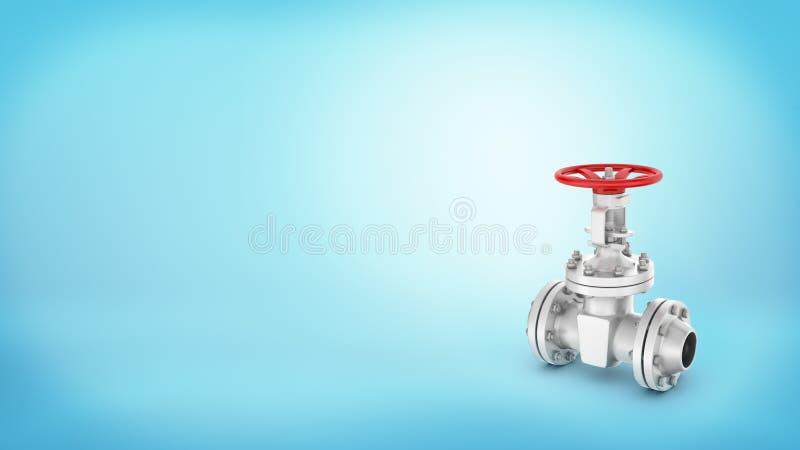 Una válvula de parada de acero grande con una manija roja de la rueda atada a un tubo en fondo azul fotos de archivo