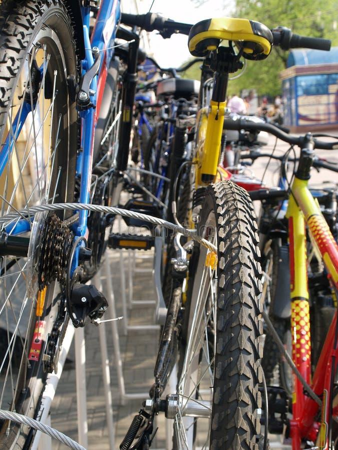 Una variedad de bicicletas alistan en venta imagen de archivo libre de regalías