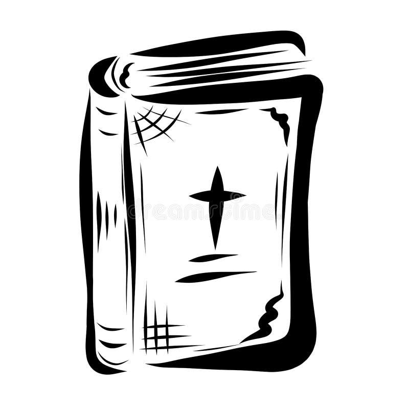 Una vecchia bibbia chiusa con un incrocio sulla copertura royalty illustrazione gratis