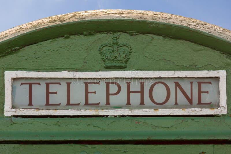 Particolare di vecchia cabina telefonica con la corona britannica. Dublino. L'Irlanda immagine stock libera da diritti