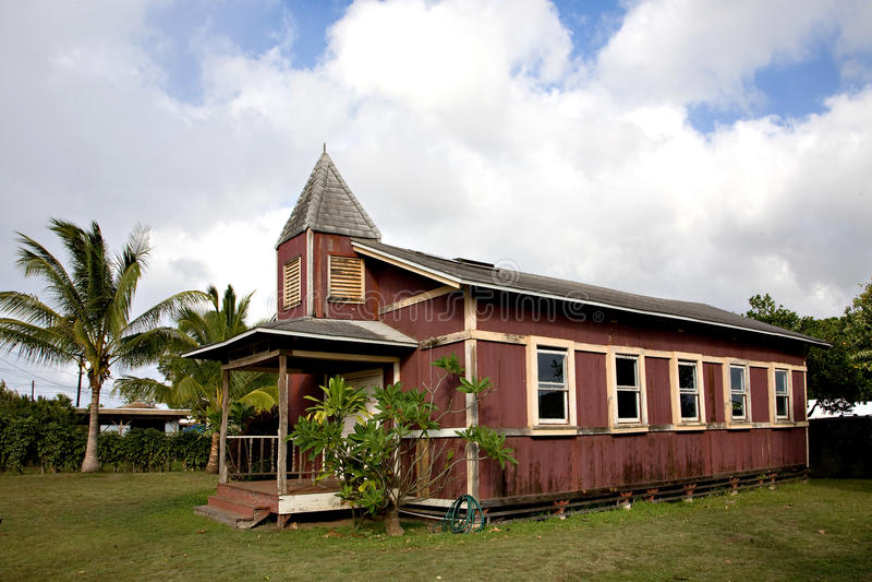 Una vecchia chiesa in Hale'iwa Hawai fotografie stock