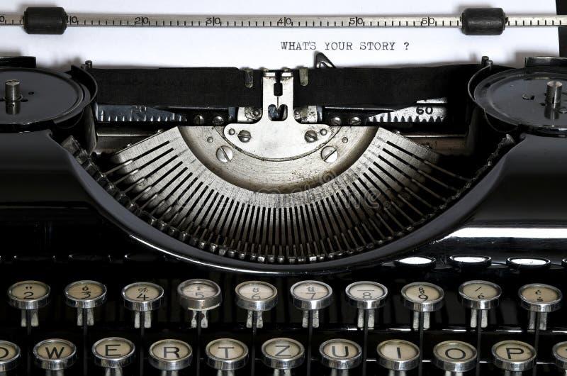 Una vecchia macchina da scrivere con il testo che ` s il vostro Stor fotografia stock libera da diritti