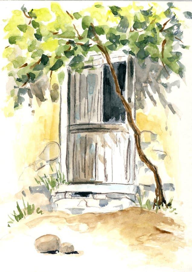 Una vecchia porta illustrazione di stock