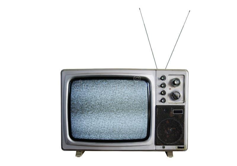 Una vecchia TV con il disturbo su priorità bassa bianca fotografia stock
