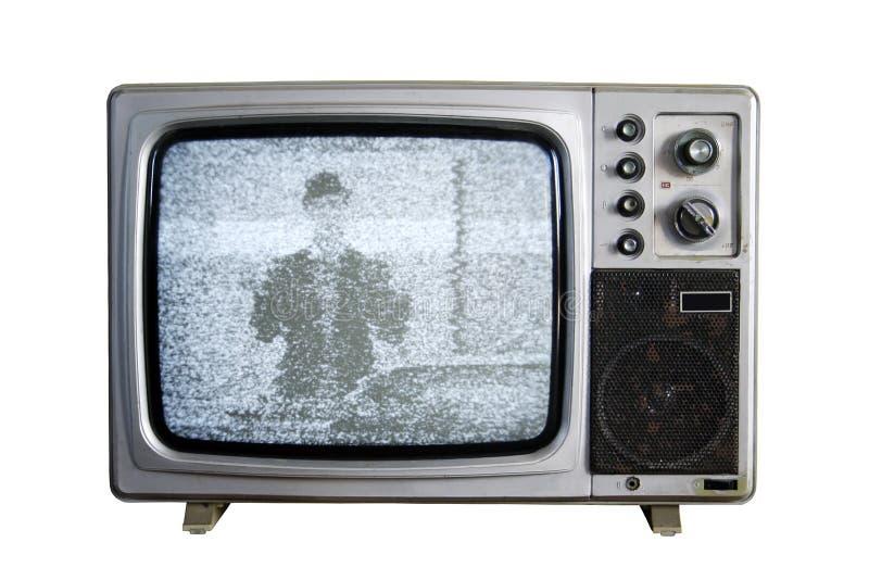 Una vecchia TV con il disturbo su priorità bassa bianca fotografie stock libere da diritti