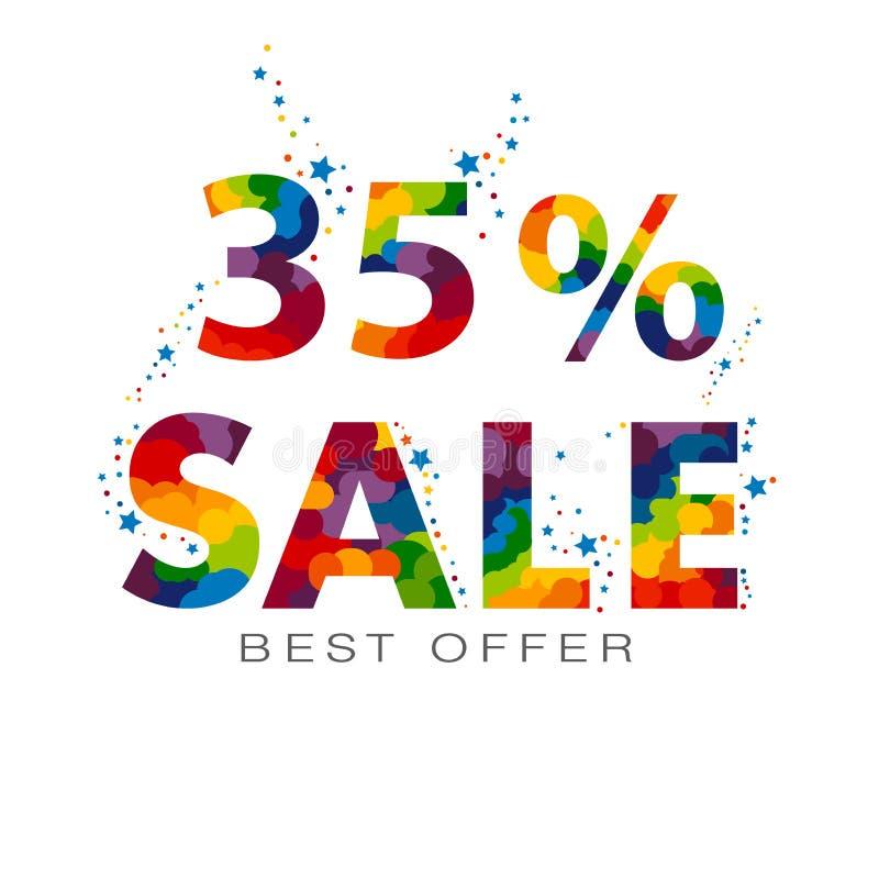 una vendita a ribasso di 35 per cento Trentacinque per cento fuori Elemento di progettazione di vendita illustrazione di stock