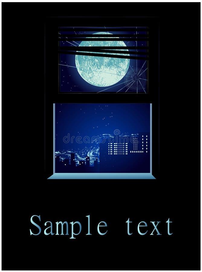 Una ventana con las vistas de la ciudad debajo de una Luna Llena imagen de archivo libre de regalías