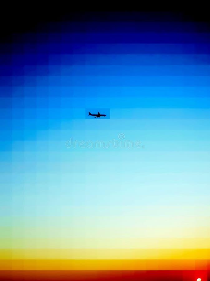 Una versión más oscura del vuelo del aeroplano y de la puesta del sol colorida stock de ilustración