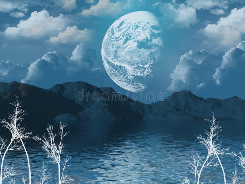 Una vez en una luna azul ilustración del vector
