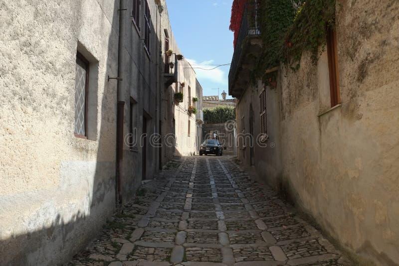 Una via nel centro di Erice, Italia immagine stock libera da diritti