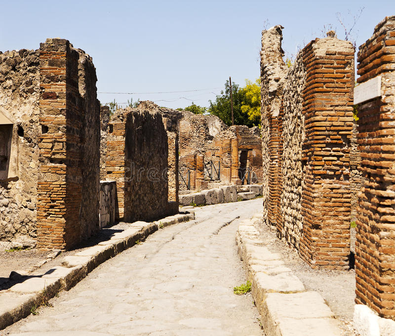 Una via a Pompeii fotografie stock libere da diritti