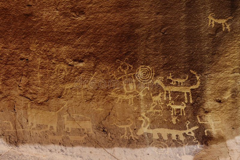 Una Vida Petroglyphs arkivfoto