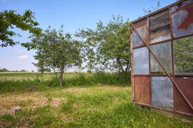 Una vieja puerta abierta oxidada del invernadero en un jardín rural foto de archivo