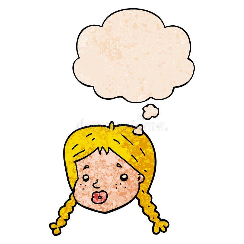 Una vignetta creativa che le ragazze affrontano e pensano come una bolla di grana in stile 'grunge texture' royalty illustrazione gratis
