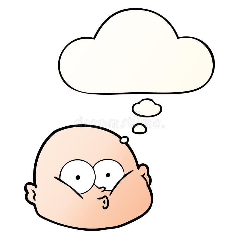 Una vignetta creativa su un uomo calvo e una bolla di pensiero in stile gradiente uniforme illustrazione di stock