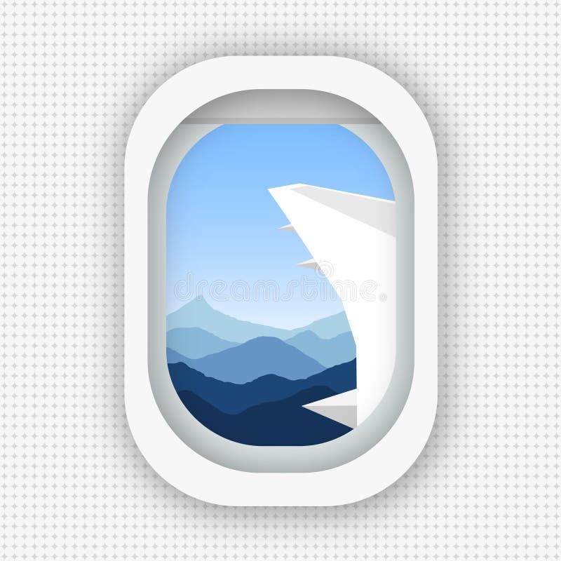 Una visión desde una ventana de un aeroplano que vuela sobre las montañas Estilo plano stock de ilustración