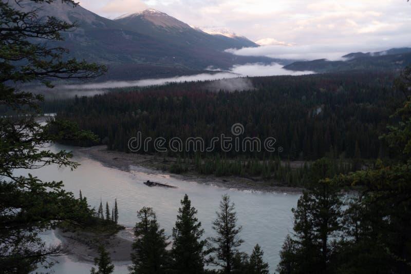 Una visión en la alba del río de Athabasca como teje su manera a través de Jasper National Park, Canadá, en un día nublado imagenes de archivo