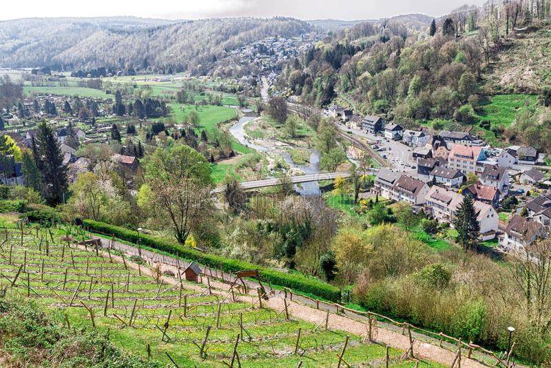 Una visión sobre un campo hermoso en Alemania fotos de archivo libres de regalías