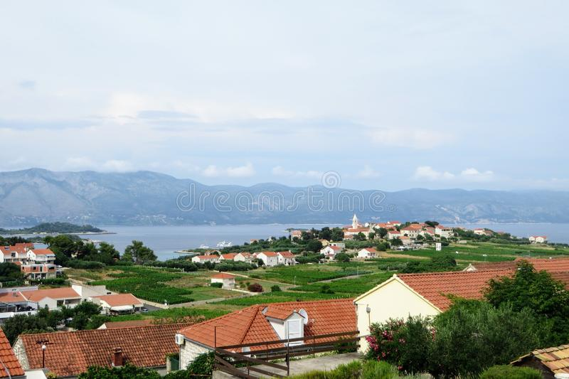 Una visión un pueblo croata viejo y un viñedo de extensión del vino que producen las uvas locales del grk con la pequeña ciudad d fotografía de archivo libre de regalías
