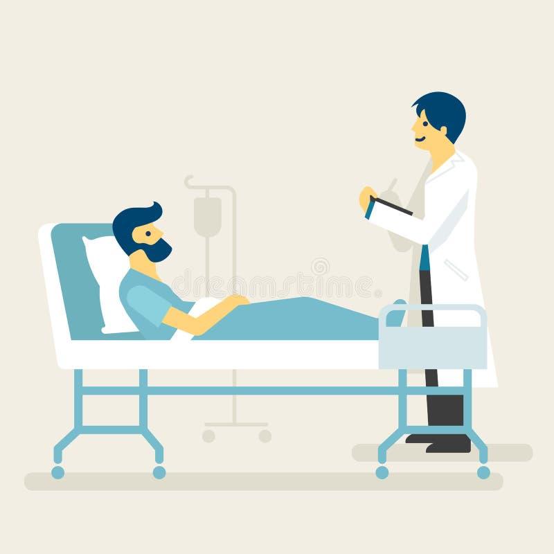 Una visita del doctor un hospitalizado en el hospital, ejemplo médico ilustración del vector